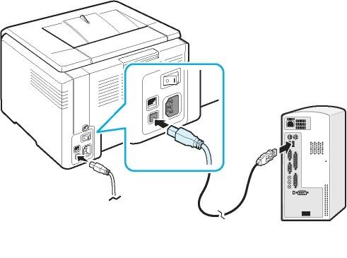 подключение принтера USB-кабелем